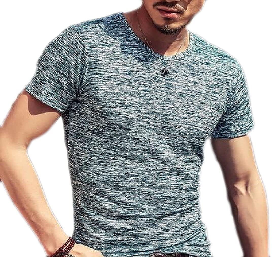 Mens Solid Slim Fit O Neck Short Sleeve Muscle Casual Tops Tee Shirts