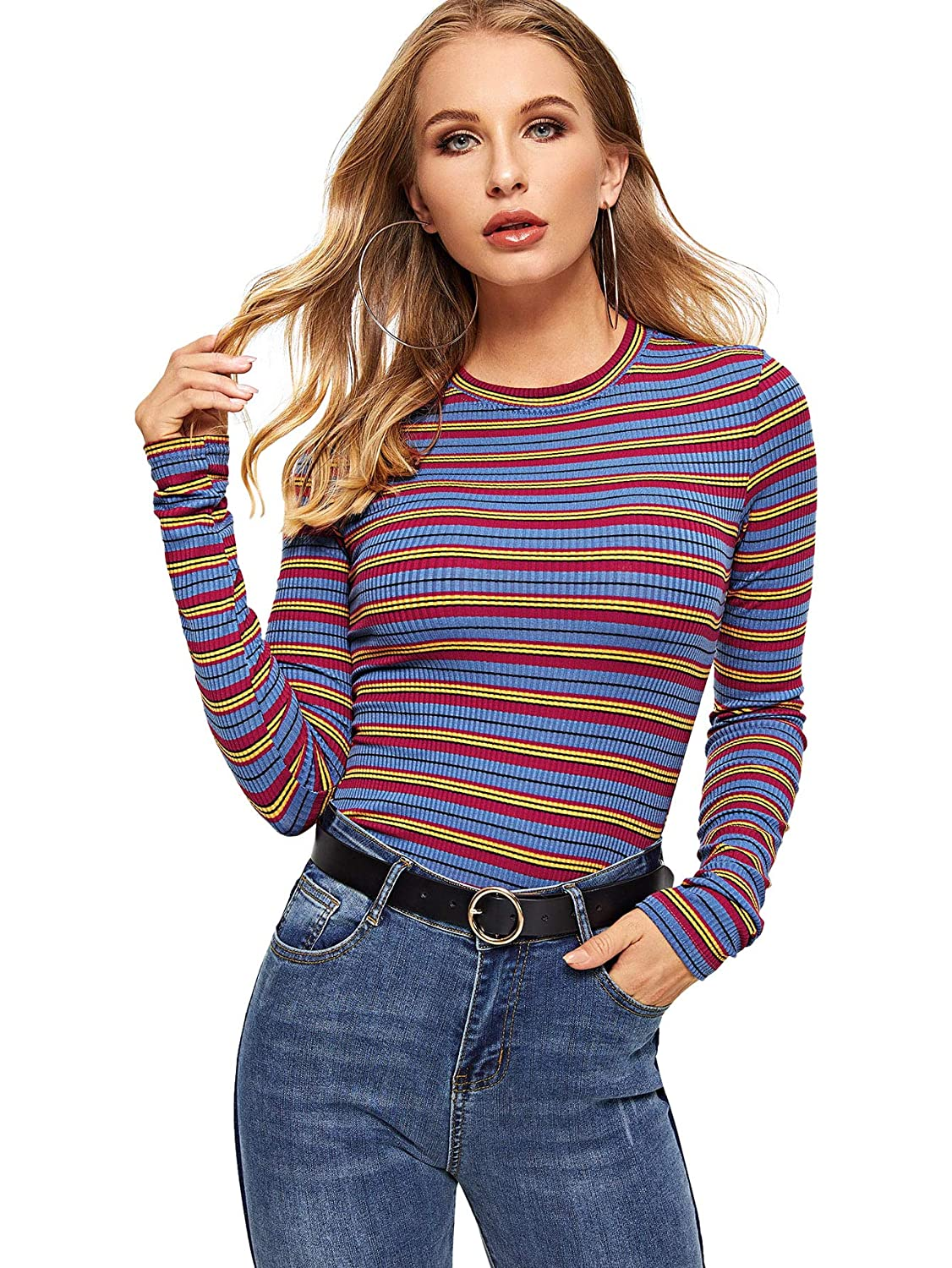 Amulti3 Milumia Women's Casual Striped Ribbed Tee Knit Crop Top