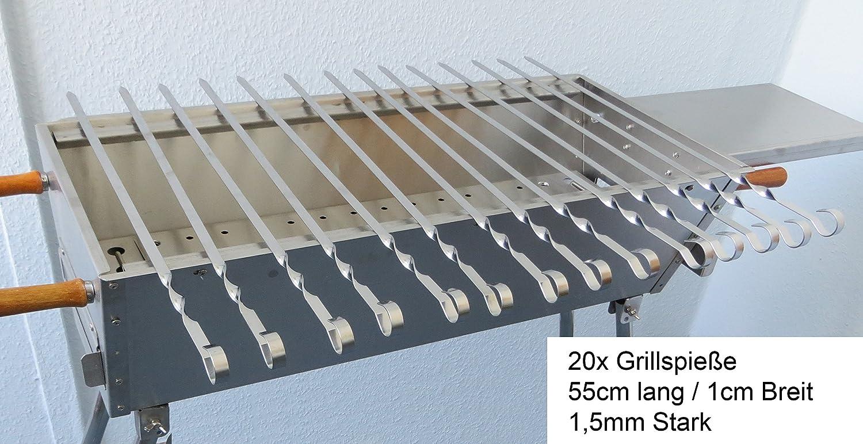 rukauf 20 Schaschlikspiesse Edelstahl 55cm l/änge 1,5 mm Stark//Schampura Grillspiesse Fleischspiesse auch f/ür Mangal