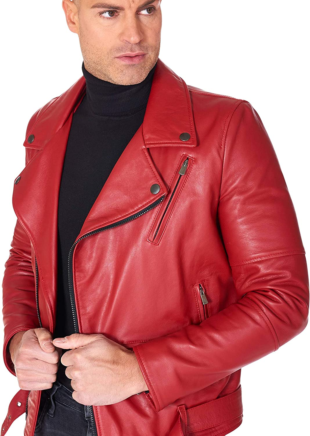 Red Belted Nappa Lamb Leather Perfecto Jacket