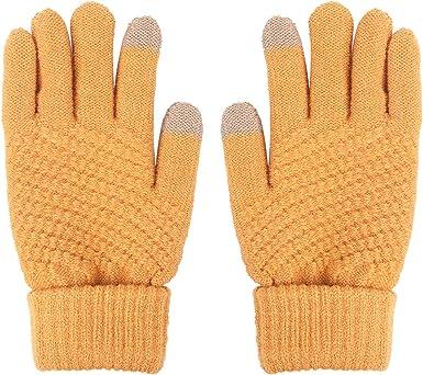 Guantes de pantalla táctil cálidos de lana de invierno Guantes Táctiles para Smartphones y Tablets Unisex 4 Color Suaves y Elásticos Lavables (negro) (Amarillo): Amazon.es: Ropa y accesorios