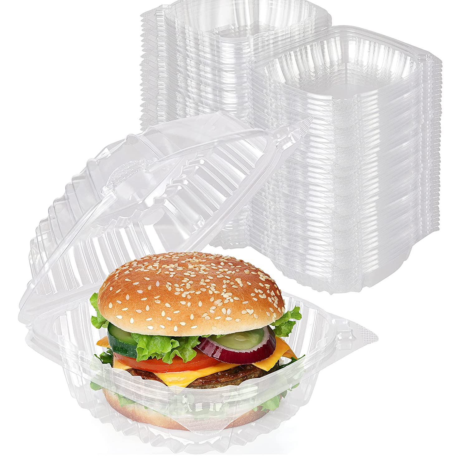 Stock Your Home Plastic 5 x 5 Inch Clamshell Takeout Trays (100 Pack) - Dessert Containers - Plastic Hinged Food Container - Disposable Plastic to Go Boxes for Salads, Pasta, Sandwiches