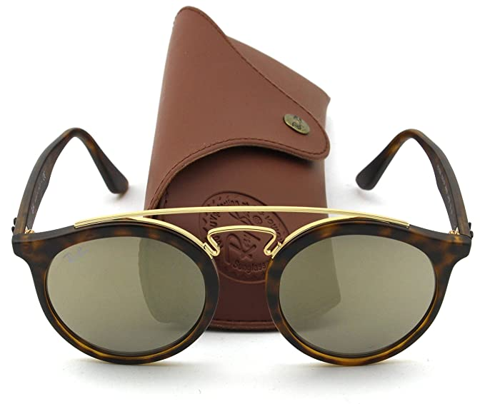 7a63f8b821 Ray-Ban RB4256 GATSBY I Retro-modern Sunglasses (Matte Havana Frame Brown  Gold Mirror Lens 60925A