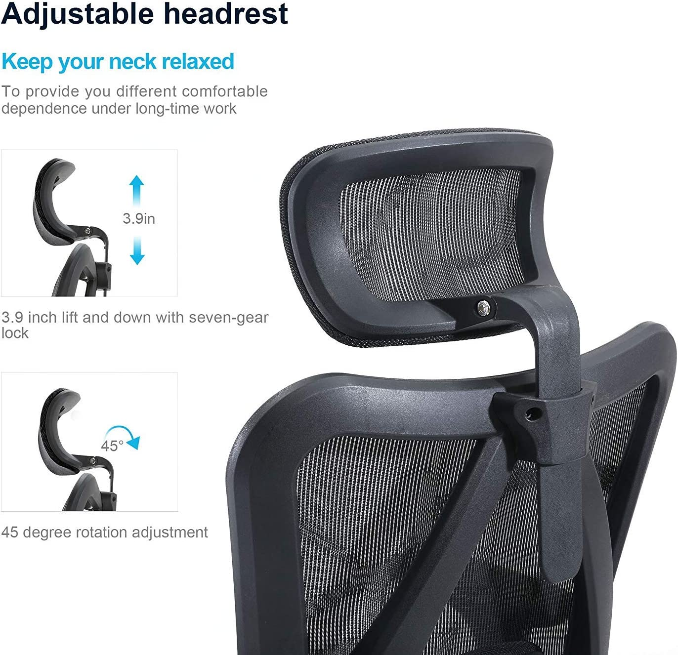 Black SIHOO Ergonomic Office Chair Adjustable Lumbar Support 3D Armrests Skin-Friendly Mesh Desk Chair High Back