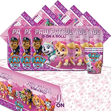 amscan Paw Patrol Pink Girls Children Birthday Complete Party Tableware Pack for 16 AMZKIT721