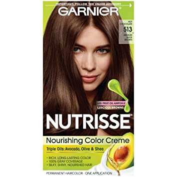 Garnier Nutrisse Nourishing Hair Color Creme, 513 Medium Nude Brown (Packaging May Vary)