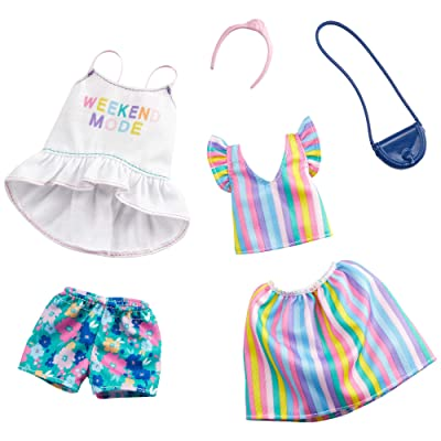 Barbie Clothes: 2 Outfits Doll Include A Top with 'Weekend Mode' Graphic, Floral Shorts and A Striped Top and Skirt with Purse and Headband, Gift for 3 to 8 Year Olds​: Toys & Games