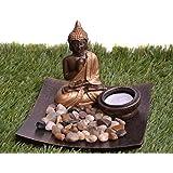 Pindia Meditating Buddha Polyresin Tea Light Holder (15.5 cm x 15.5 cm x 12.5 cm, Brown)