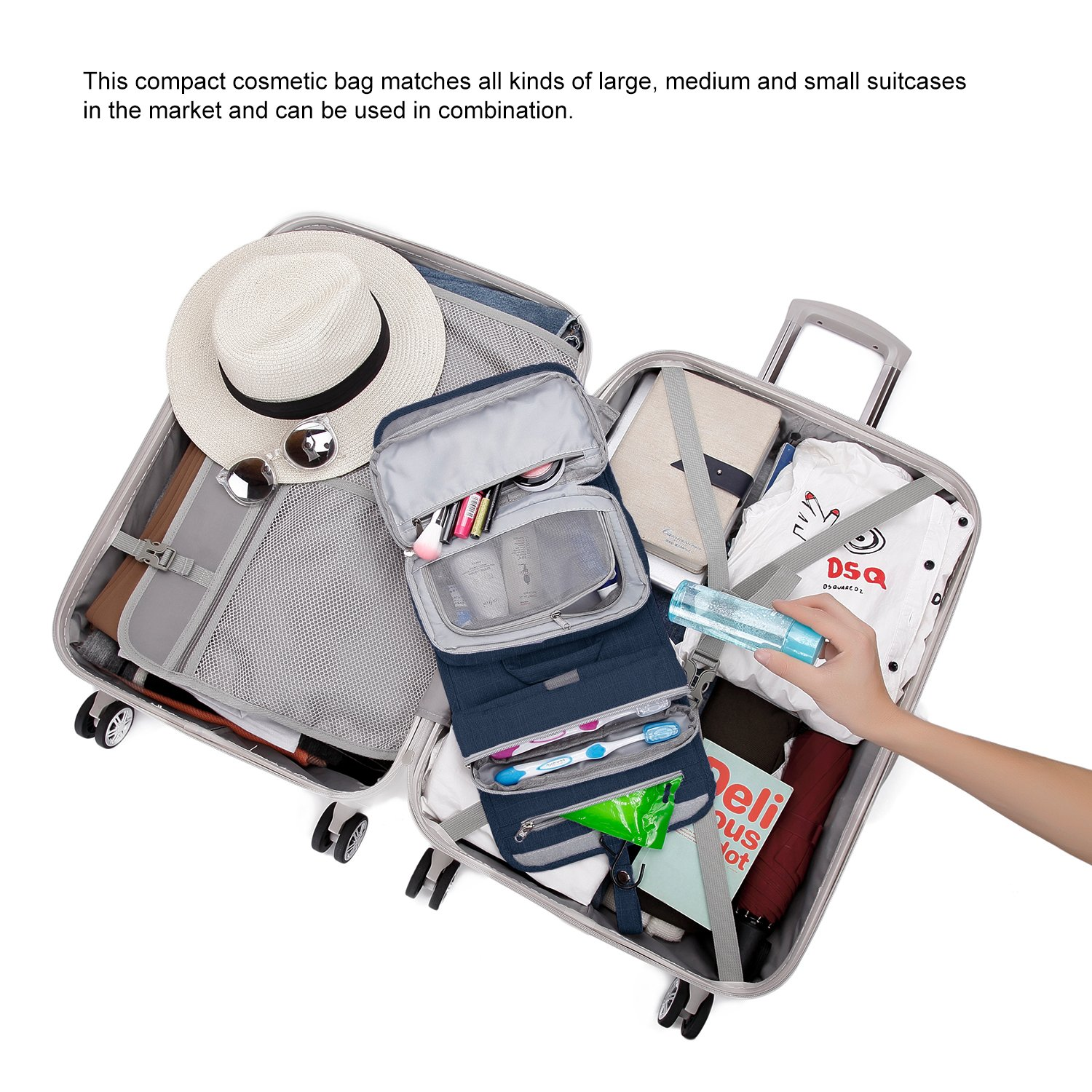 Mountaintop Hanging Travel Toiletry Bag, 7.1 x 2.4 x 9.3-Inch For Men & Women by Mountaintop (Image #8)