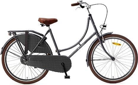 Bicicleta holandesa para mujer 26 pulgadas poza gris: Amazon.es ...