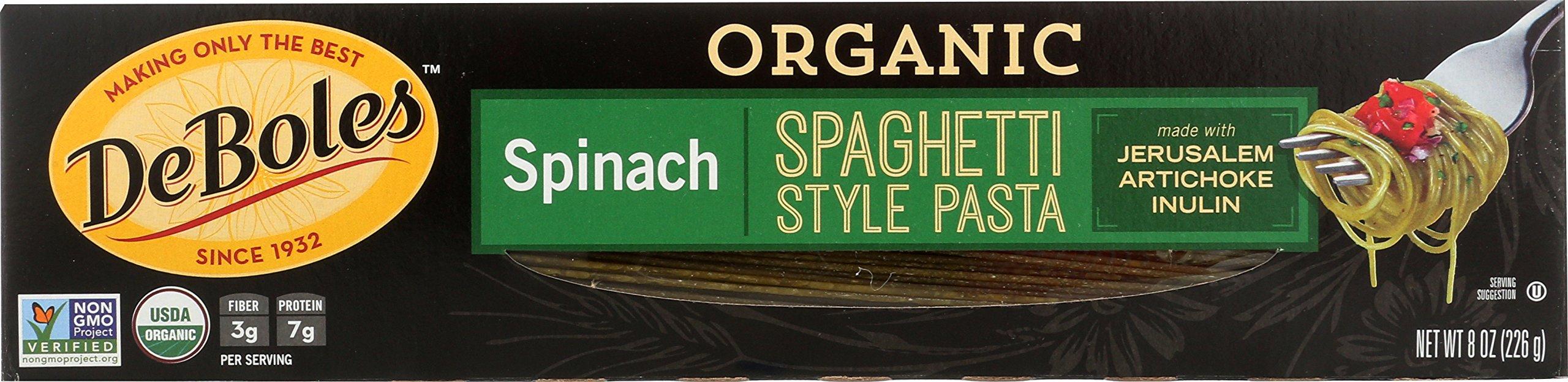 DeBoles Organic Spinach Pasta, Spaghetti, 8 Ounce (Pack of 12)