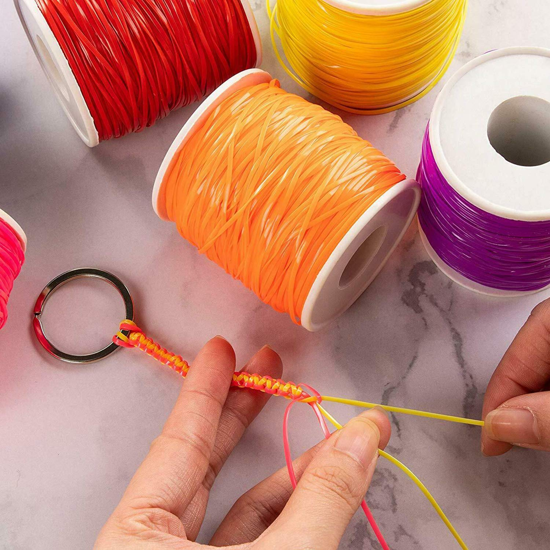 24 Colors Plastic Lacing Cord Gimp Bracelet Making Scoubidou Strings DIY Craft Lacing String for Bracelet DIY Craft Jewelry Making with 58pcs Snap Clip Hooks.
