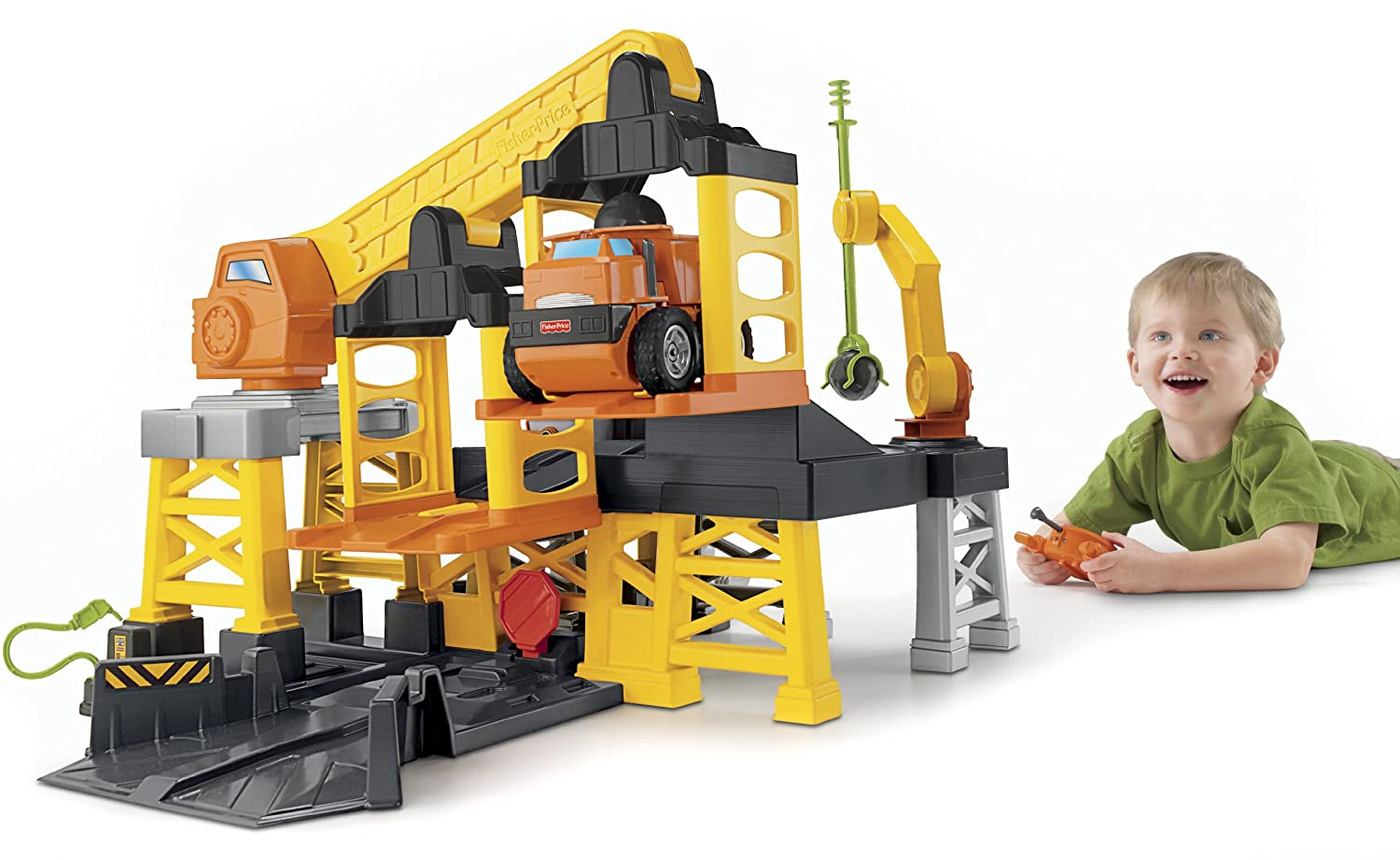 Amazon Fisher Price Big Action Construction Site With Remote Control Toys Games