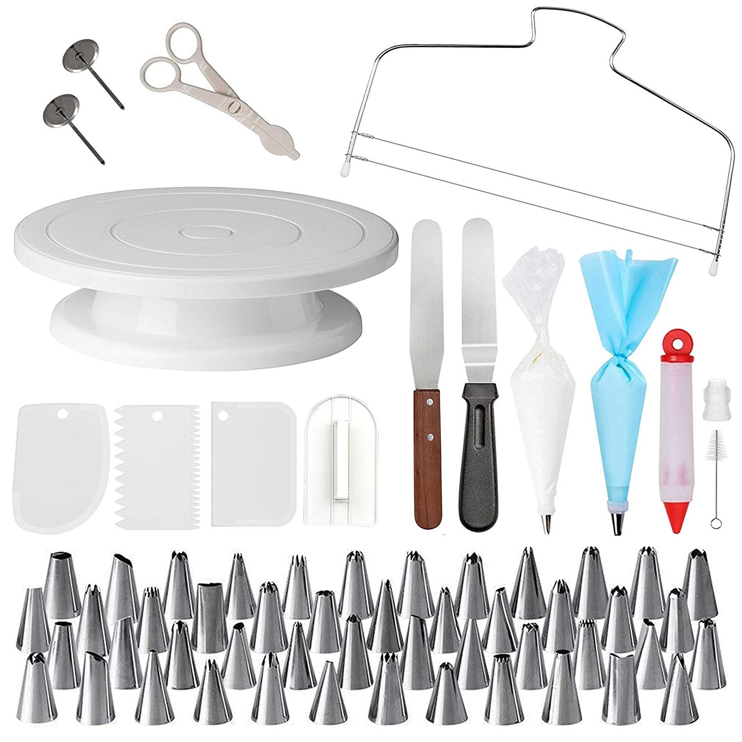 Cake Decorating Supplies with Cake Turntable - Extended 73pcs Baking  Supplies - Baking Kit - Baking Set Includes: Piping Bags and Tips  Decorating