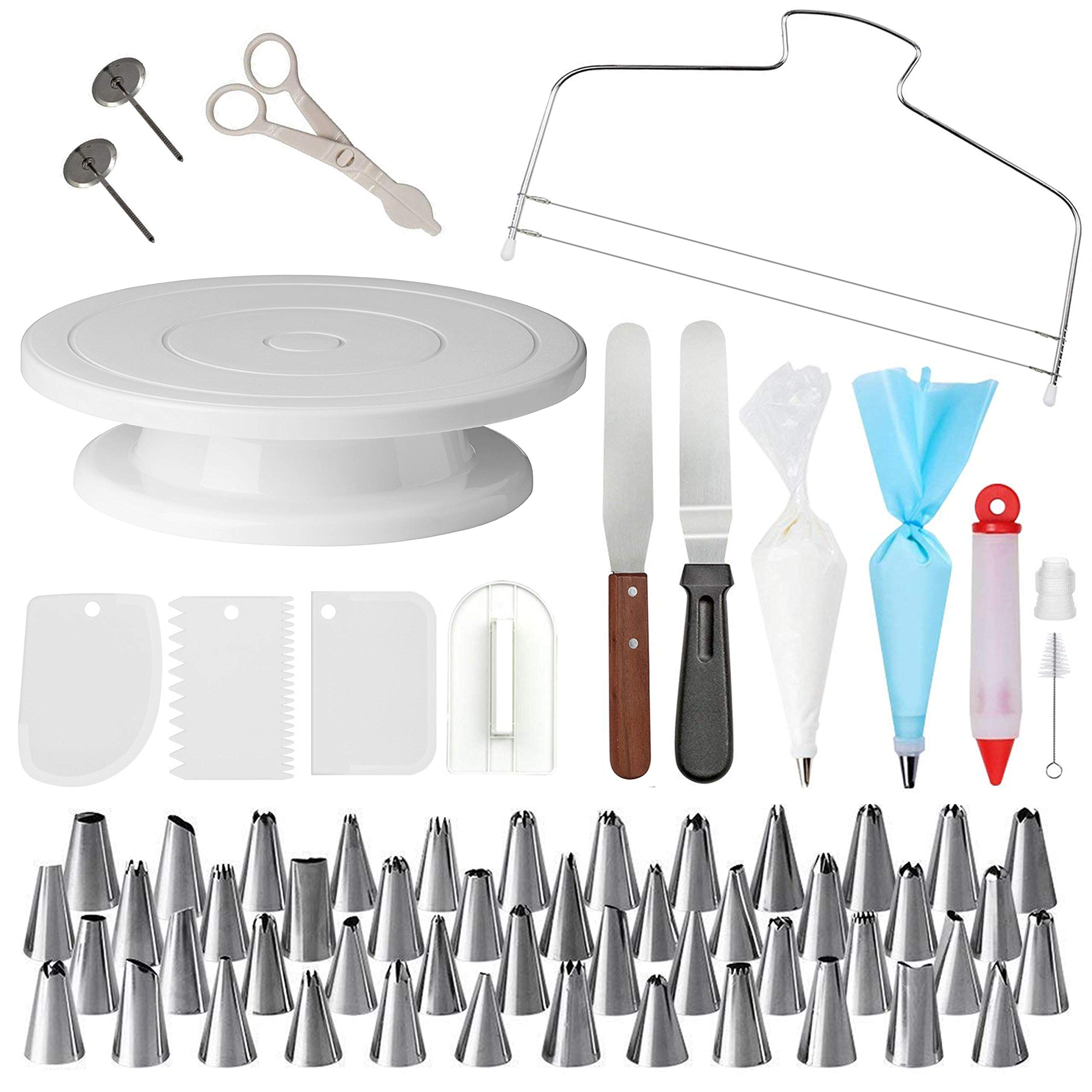 Cake Decorating Supplies with Cake Turntable - Extended 73pcs Baking Supplies - Baking Kit - Baking Set Includes: Piping Bags and Tips Decorating Turntable other Baking Tools - New Cake Decorating Kit