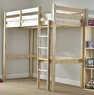 loft bunk bed   heavy duty 3ft single wooden high sleeper bunkbed   can be used hyder living alaska futon bunk bed plus mattress metal silver      rh   amazon co uk