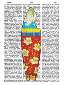 Art N Wordz Sharkbite Surfboard Original Dictionary Sheet Pop Art Wall or Desk Art Print Poster