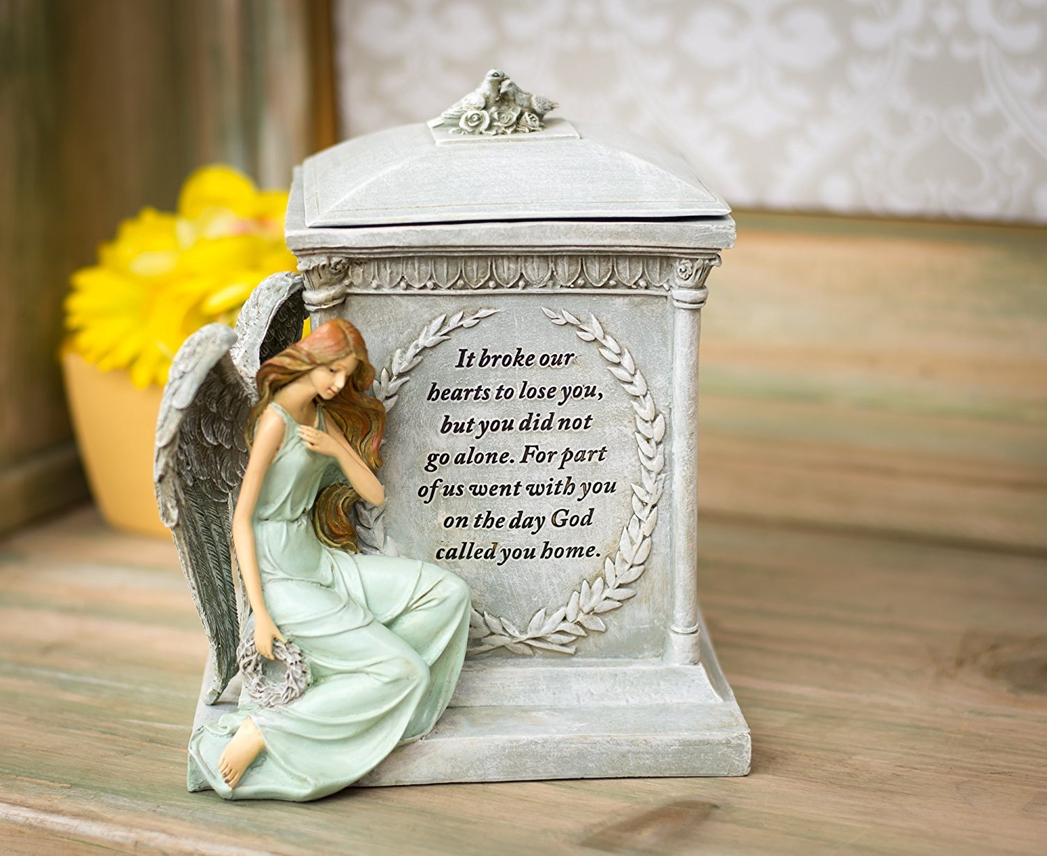 Roman 48476 8.5 Inch Height Memorial Urn Forever with the Angels