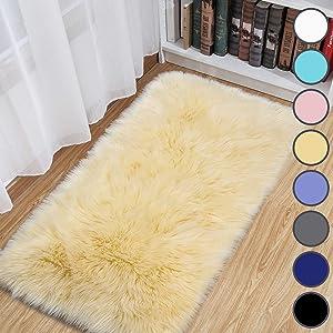 junovo Luxury Fluffy Area Rugs Furry Rug for Bedroom Faux Fur Sheepskin Nursery Rugs Fur Carpet for Kids Room Living Room Home Decor Floor Mat, 2ft x 4ft Pale Yellow