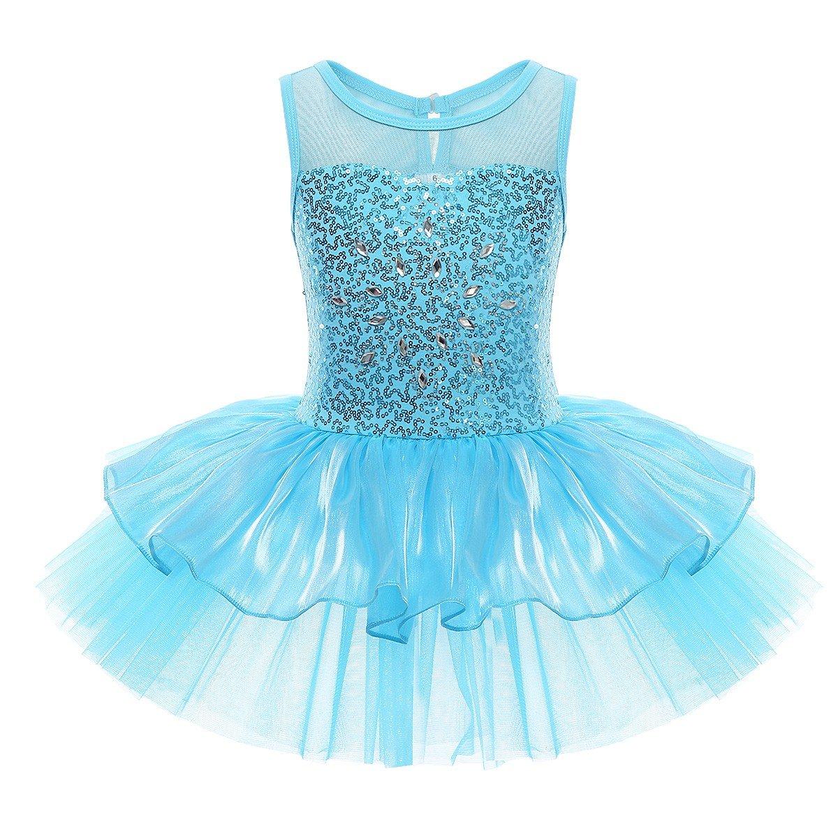 Freebily Kinder Ballettkleid ärmellos Ballettanzug Mädchen Pailletten Ballett Trikot Kostüm Tutu Kleid Turnanzug Tanz-Body mit Tütü Rock in Gr. 98-140