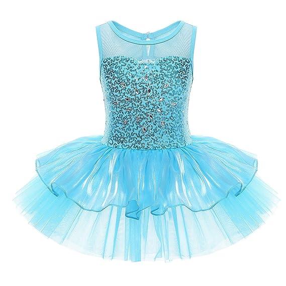 Freebily Maillot De Ballet Danza Vestido Algodón De Princesa Con Lentejuelas Para Niña 3 10 Años Tutú Infantil