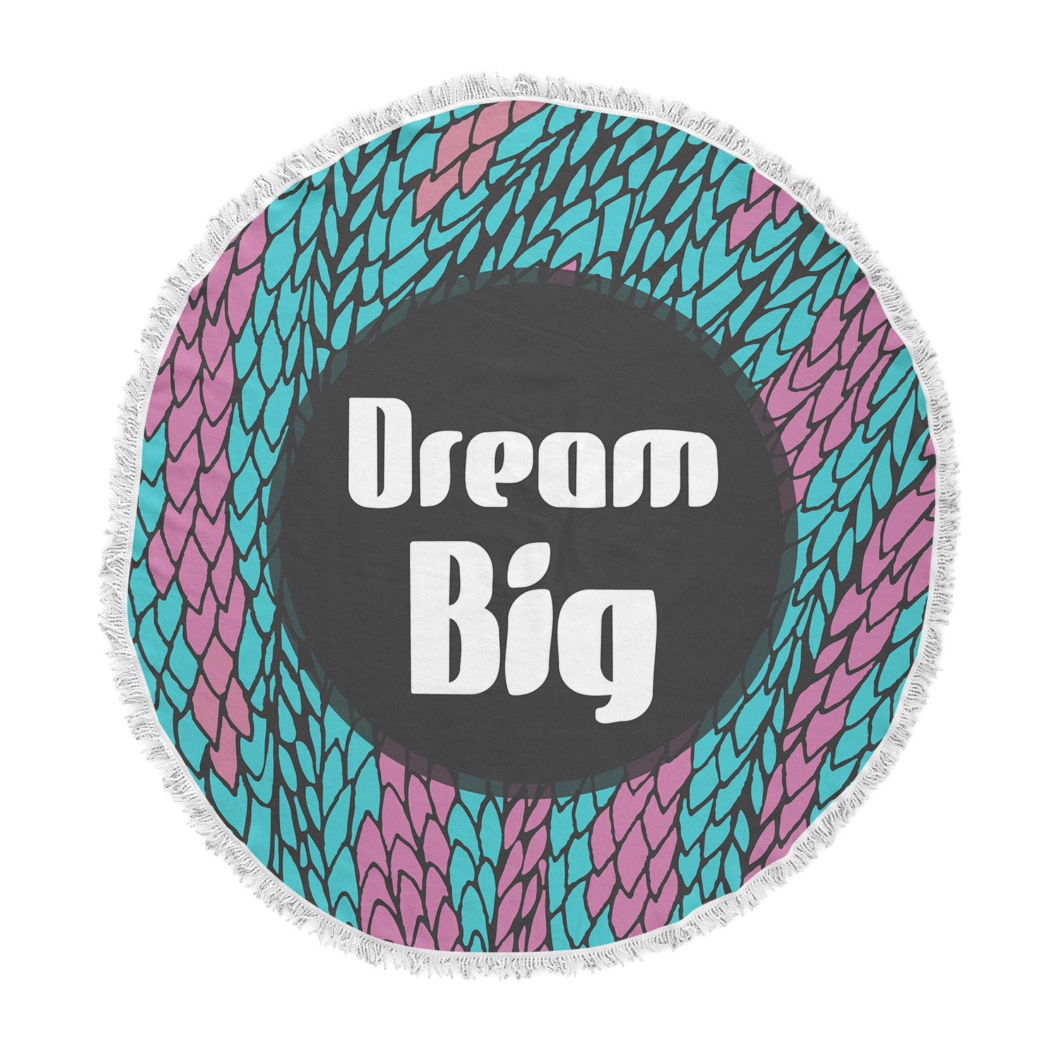 Kess InHouse Pom Graphic Design Dream Big Blue Purple Round Beach Towel Blanket