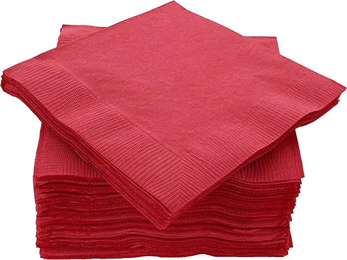 """Amcrate Big Party Pack 125 Count Red Beverage Napkins - Ideal for Wedding, Party, Birthday, Dinner, Lunch, Cocktails. (5"""" x 5"""")"""