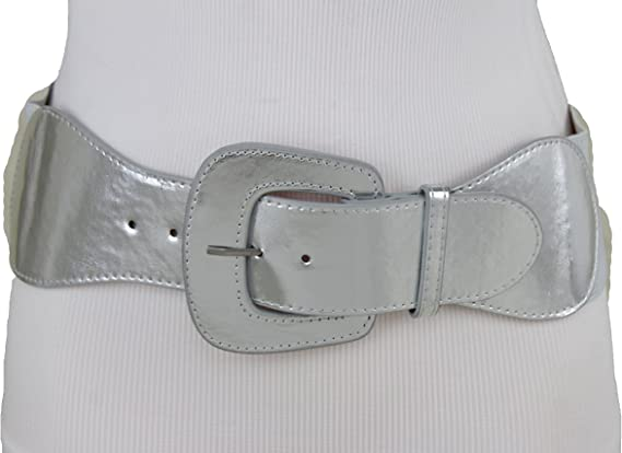 Oval link metal faux leather stretch belt d
