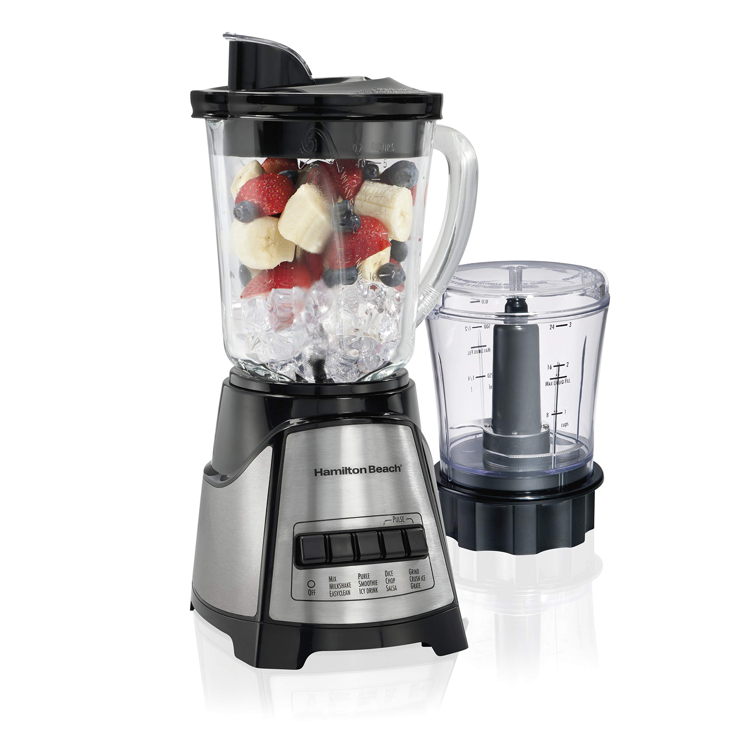 Hamilton Beach Power Elite Blender with 40oz Glass Jar and 3-Cup Vegetable Chopper, 12 Functions for Puree, Ice Crush, Shakes and Smoothies, Black and Stainless Steel (58149) by Hamilton Beach