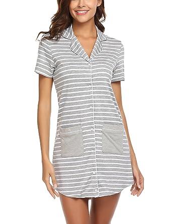 7f95c6d82de Ekouaer Nightshirt Women s Short Sleeve Pajama Button Down Lapel Cute Sleep  Shirt Dress with Pocket Small