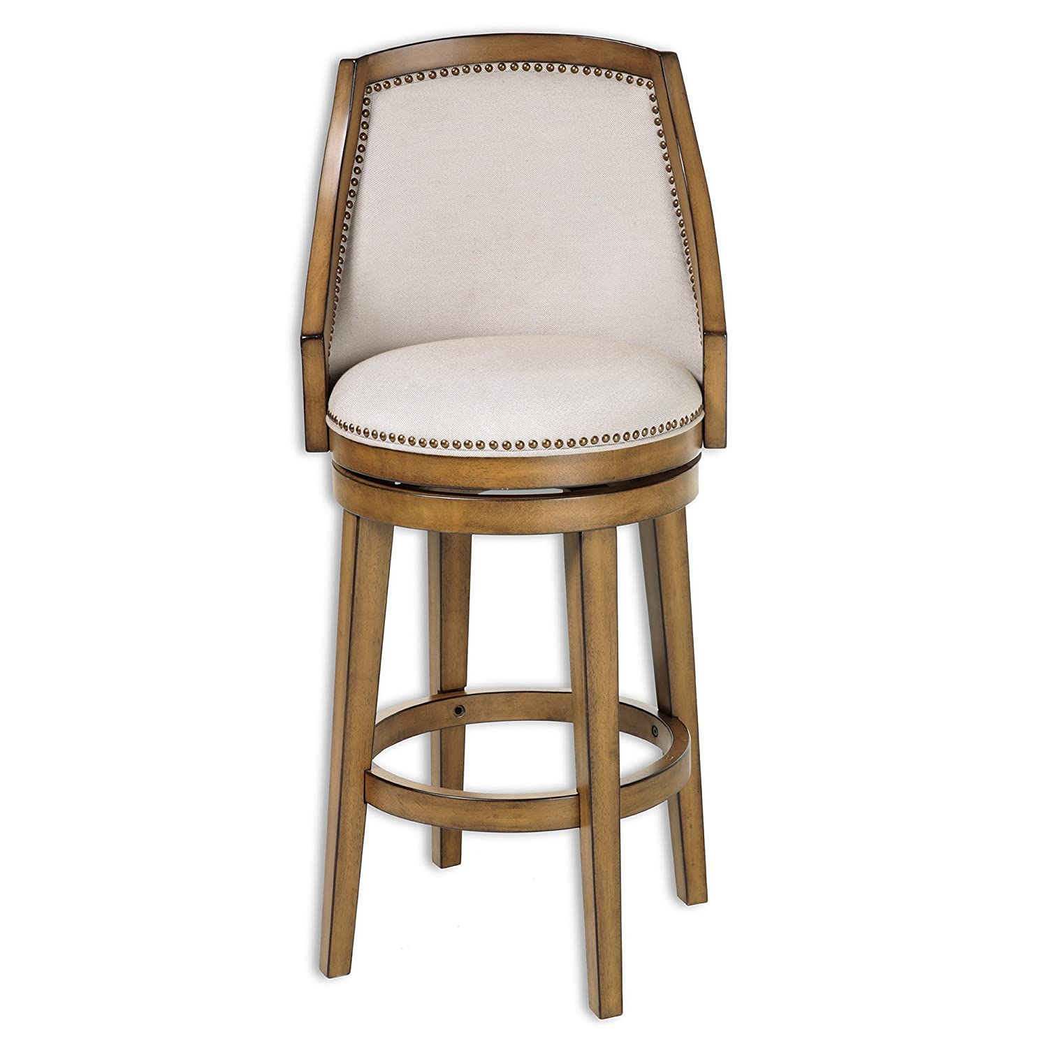 Amazon: Charleston Wood Barstool With Putty Upholstered Nail Head Trim  Swivelseat And Acorn Frame Finish, 30inch: Kitchen & Dining