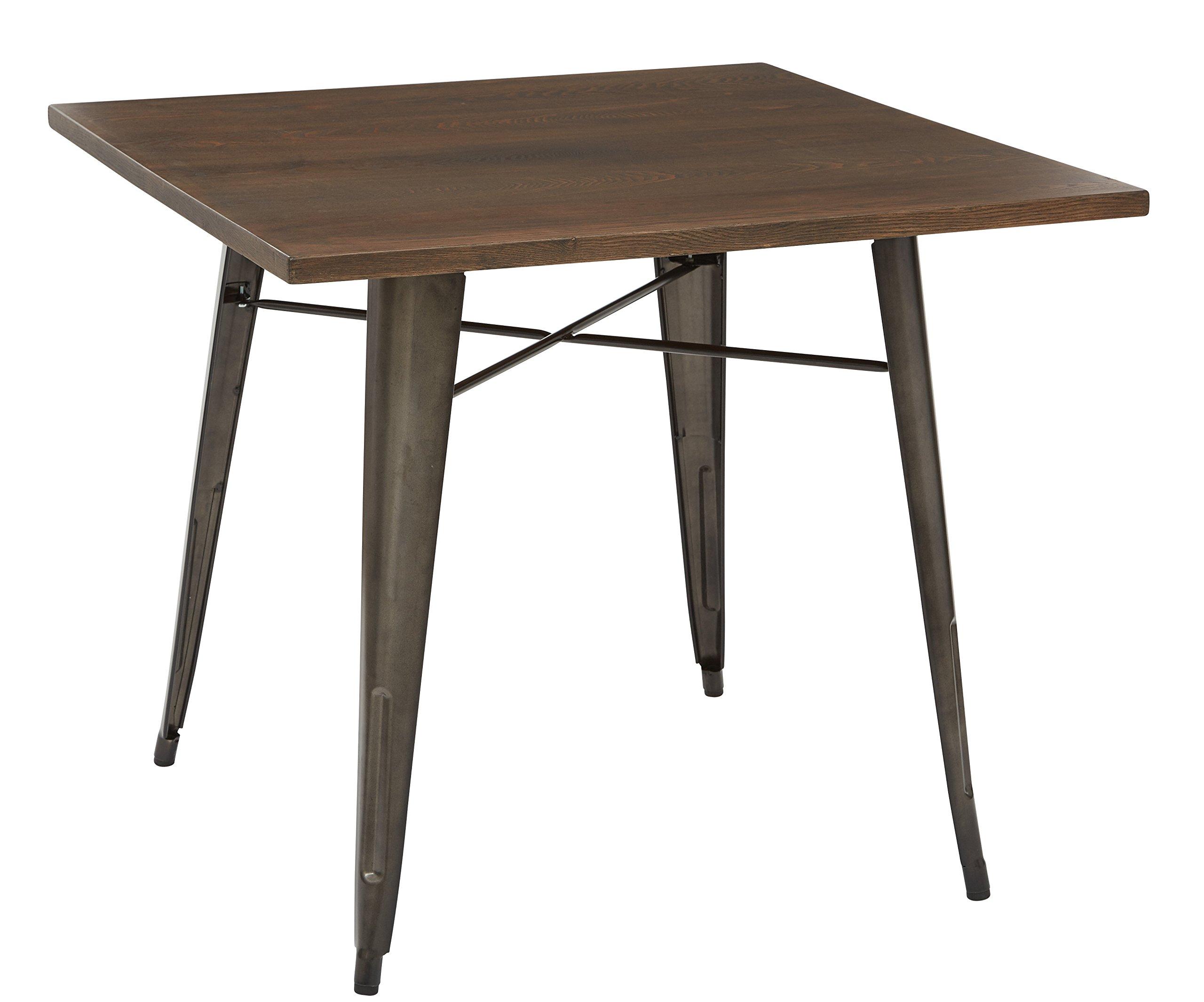 OSP Designs Indio Metal with Frame Finish and Veneer Table Top, Matte Gunmetal/Walnut