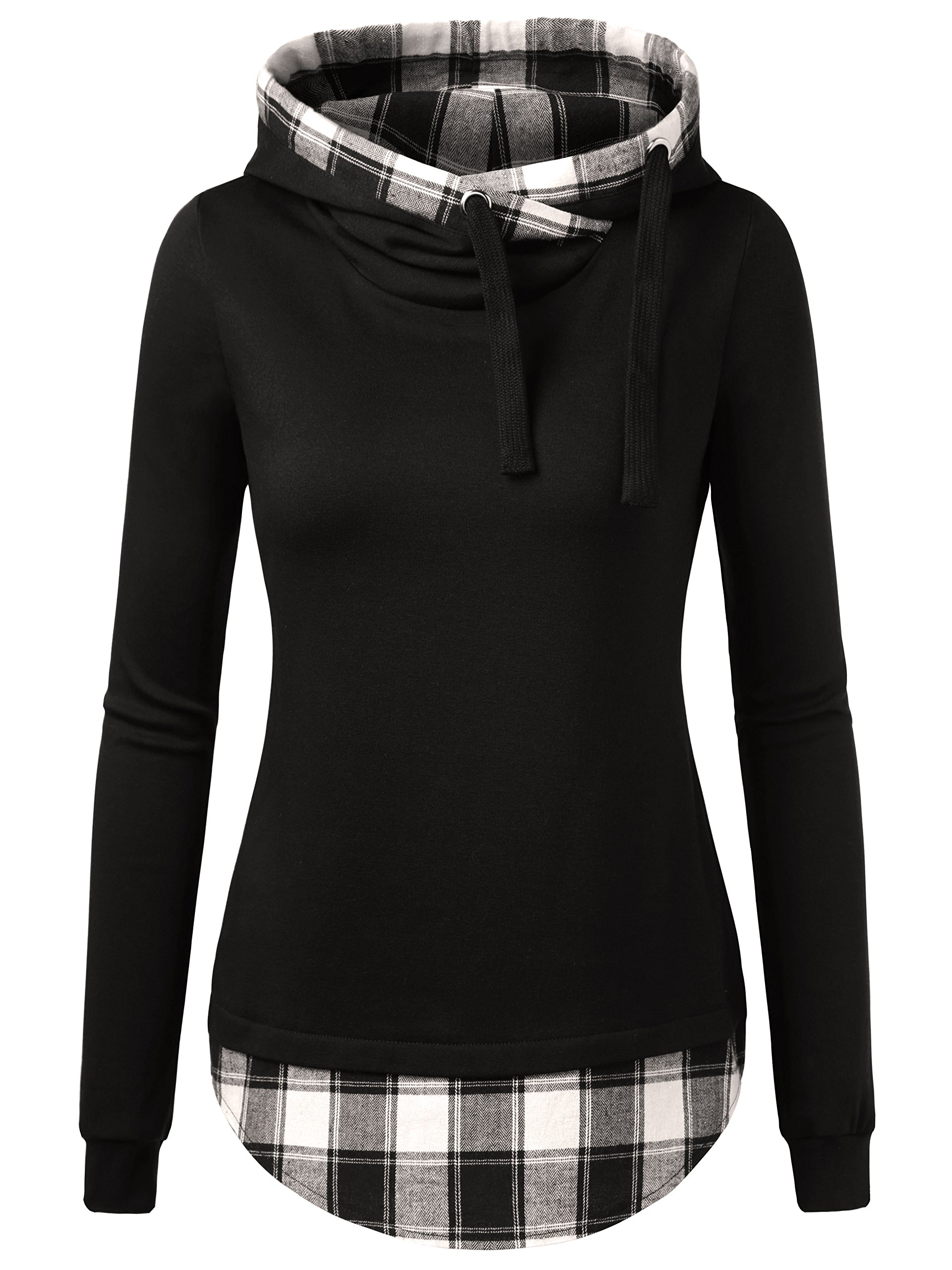 DJT Women's Funnel Neck Check Contrast Pullover Hoodie Top XX-Large Black #2 by DJT