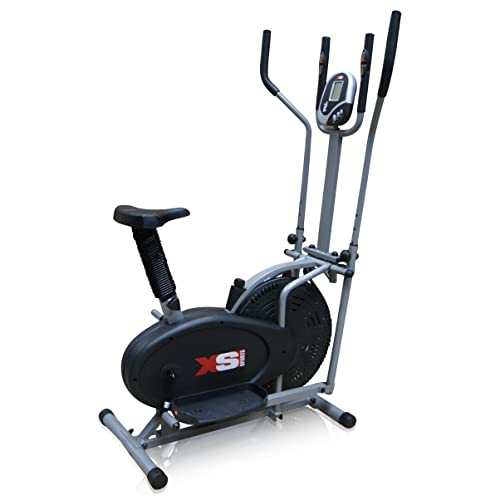 Pro XS Sports 2-in1 Elliptical Cross Trainer Exercise Bike-Fitness Cardio Weightloss Workout Machine-With Seat + Pulse Heart Rate Sensors