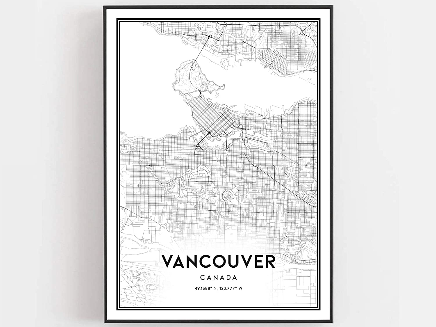 Vancouver Map Print Vancouver Map Poster Wall Art Vancouver City Map Vancouver Print Street Map Decor Road Map Gift