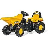 Rolly Toys 024247 Dumper Kid JCB   Kippschüssel mit Verriegelung   Trettraktor mit Überrollbügel, geschützter Integralkettenantrieb, Heckkupplung   ab 2,5 Jahren   Farbe gelb/schwarz