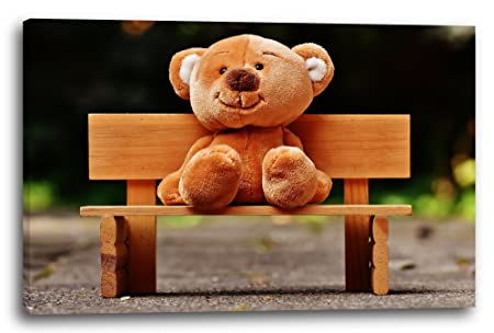 Fantastic Canvas Print 60X40Cm Wall Picture Sweet Teddy Bear Onthecornerstone Fun Painted Chair Ideas Images Onthecornerstoneorg