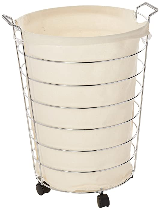 Honey-Can-Do HMP-02108 Steel Canvas Rolling Laundry Hamper, Chrome