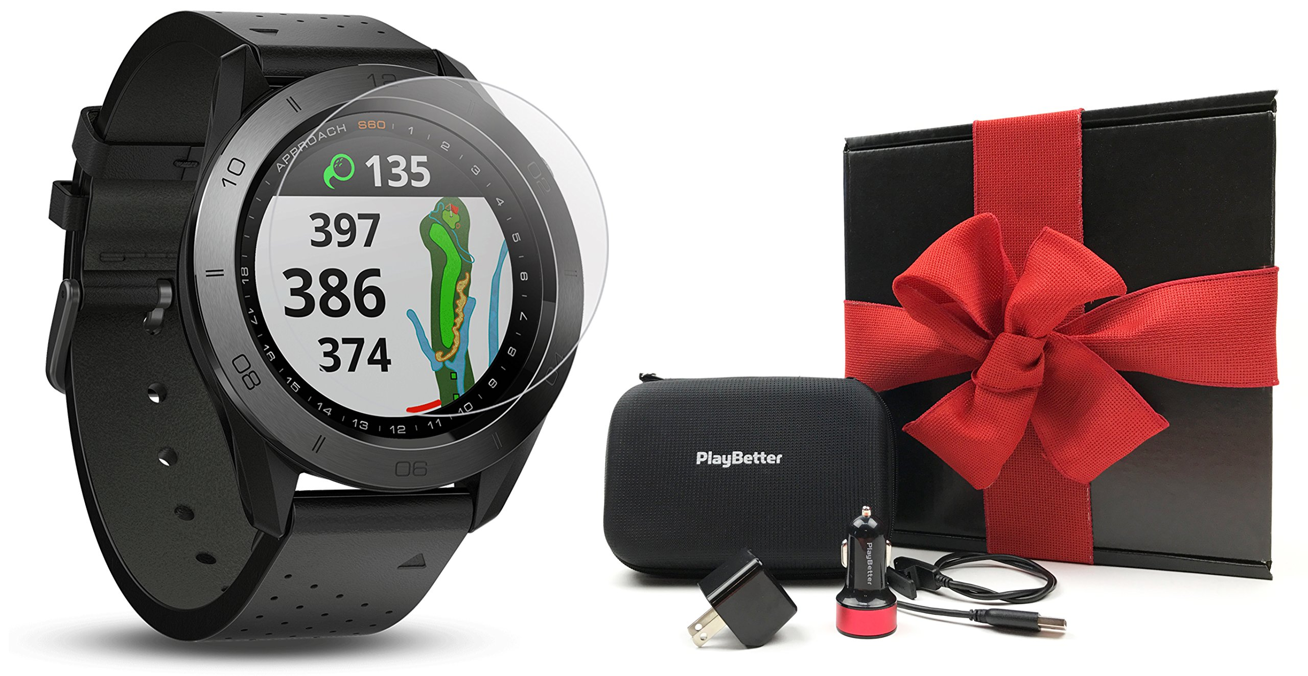 Garmin Approach S60 (Premium) Gift Box Bundle | Includes Glass Screen Protector, PlayBetter USB Car/Wall Charging Adapters & Protective Hard Case | Golf GPS Watch (Ceramic Bezel/Black Leather Band)