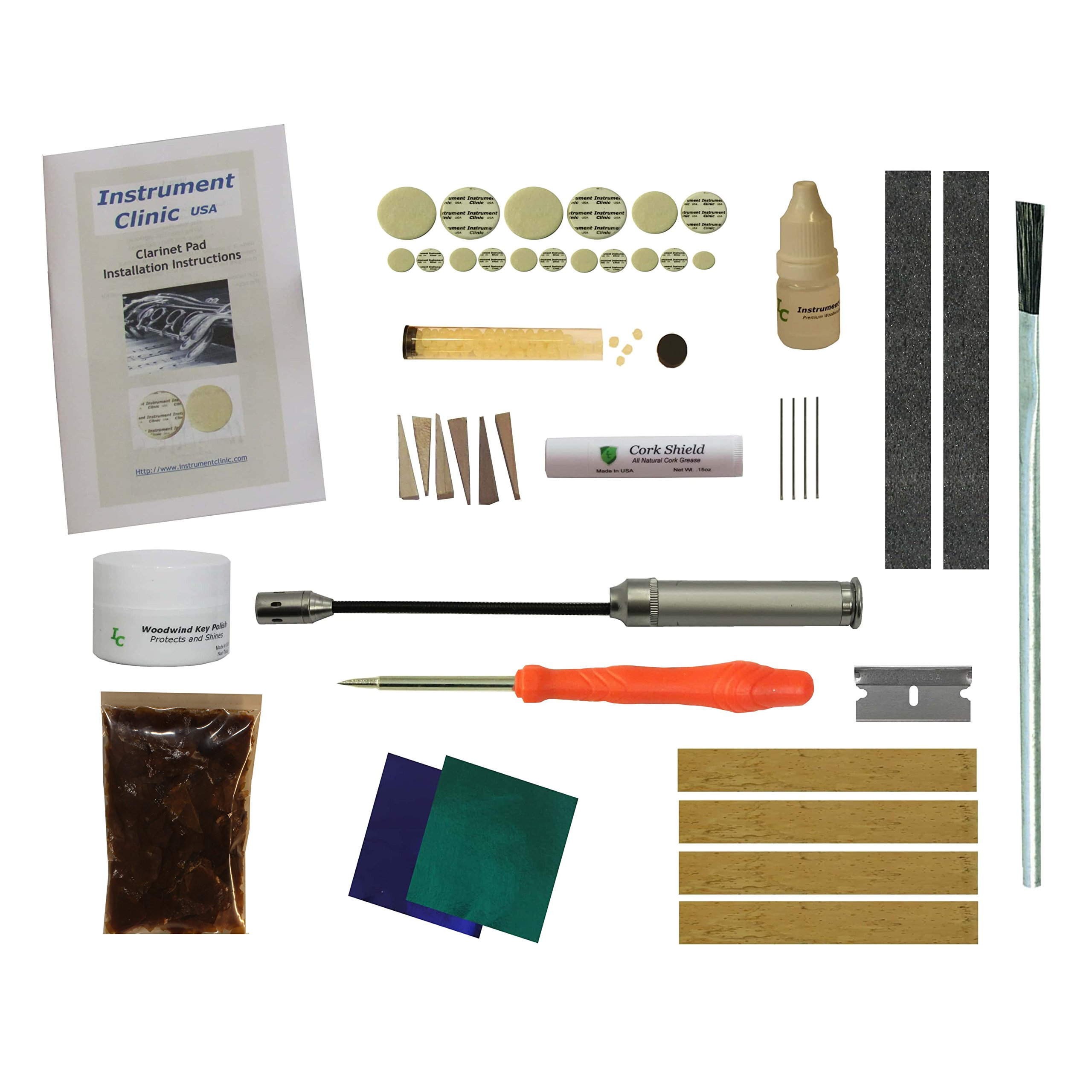 Instrument Clinic Clarinet Pad / Tenon Cork Kit, Set for Artley Clarinets