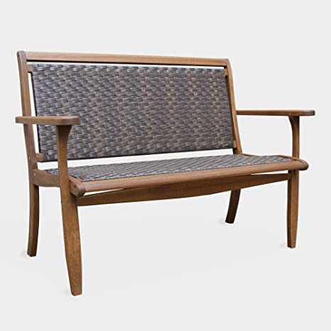 Amazon.com : MattsGlobal Danish Brown All Weather Wicker And Eucalyptus  Wood Outdoor Bench : Garden & Outdoor - Amazon.com : MattsGlobal Danish Brown All Weather Wicker And
