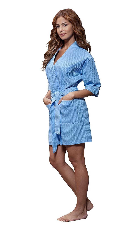 Turquaz Linen Lightweight Knee Length Waffle Kimono Bridesmaids Spa Robe
