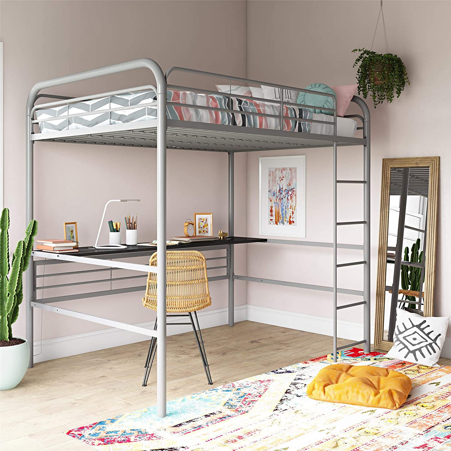 Amazon.com: DHP 4388429 Bed, Full Size Frame, Gray Metal ...
