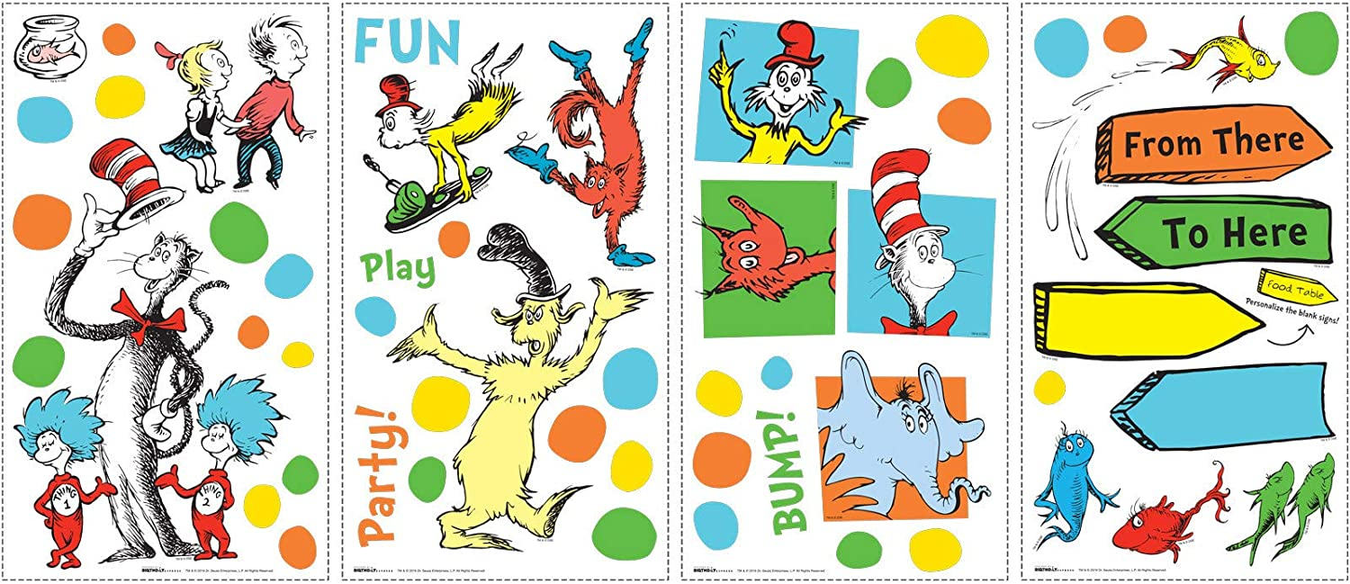 BirthdayExpress Dr Seuss Cat in The Hat Room Decor - Small Wall Decals