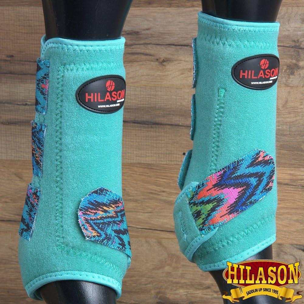 Hilason MediumジグザグターコイズHorse前脚保護スポーツブーツペア
