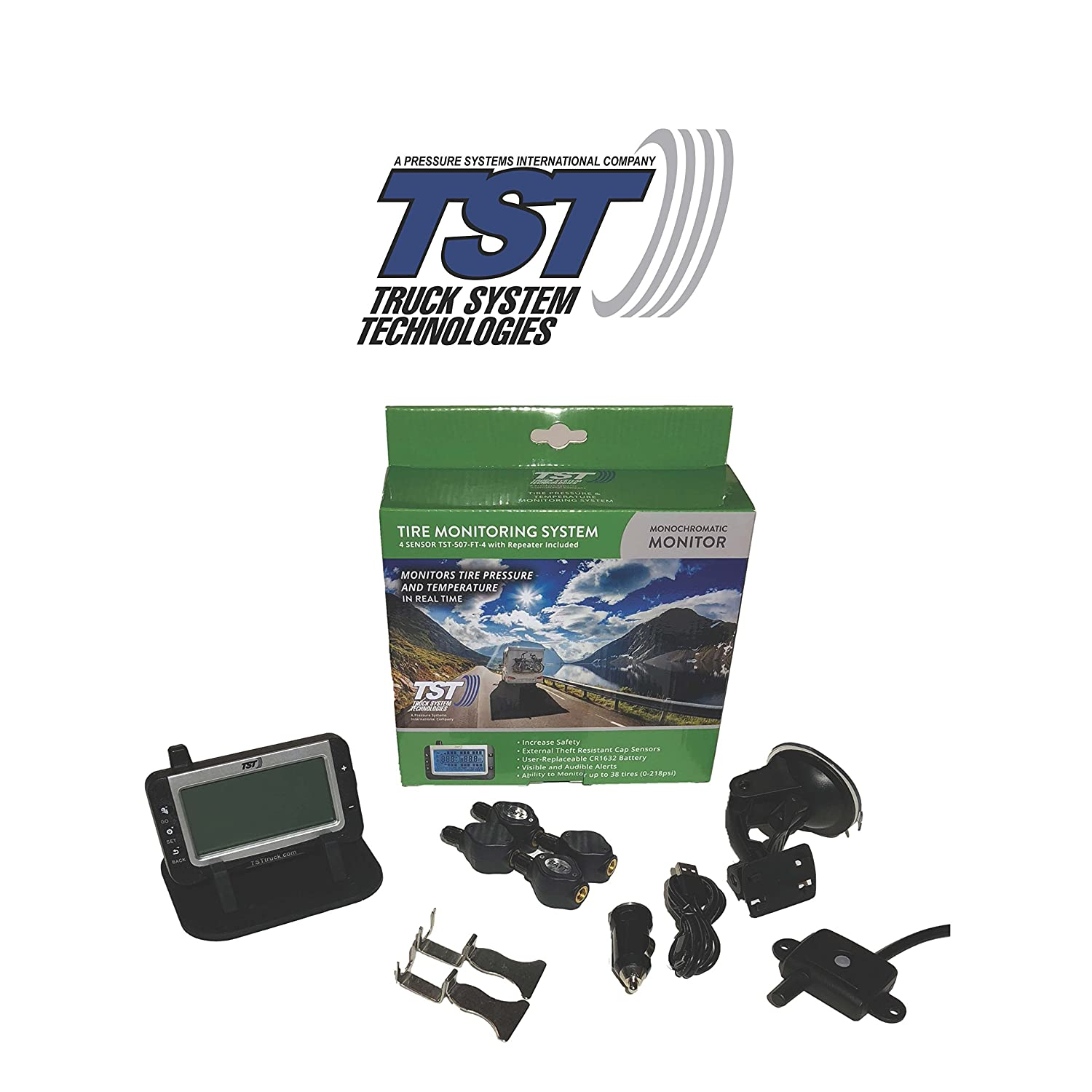 TST 507 4 Sensor Flow Through Tire Monitoring System with Monochrome Display Handles Multiple Trailers