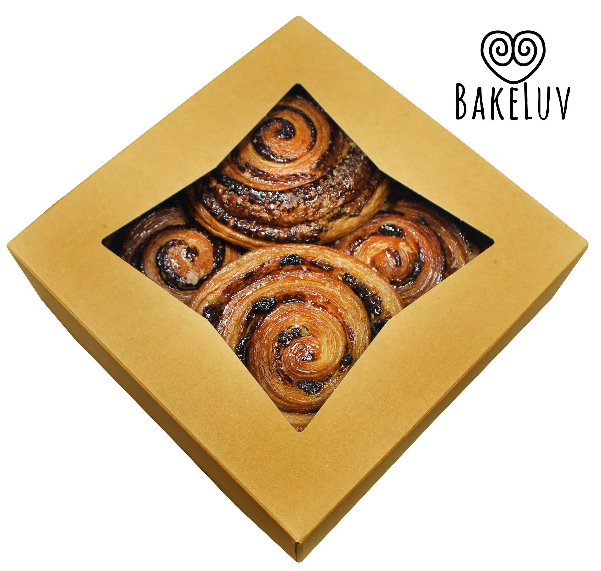 BakeLuv Brown Bakery Boxes with Window 8x8x2.5 inches | 25 Pack | Auto-Popup | Thick & Sturdy 350 GSM | Cookie Boxes with Window Bakery Boxes for Cookies, Cake Boxes, Donut Boxes, Pastry Boxes by BakeLuv