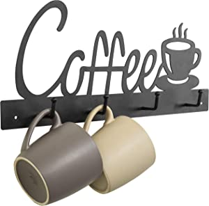 MyGift 4-Hook Coffee Cup Design Wall Mounted Black Metal Mug Rack