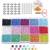 non-branded Cuentas de Colores 3mm Mini Cuentas y Abalorios Cristal para DIY Pulseras Collares Bisutería (15 Colores)
