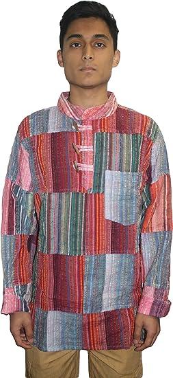 New 100/% Cotton Nepalese Patchwork Stripe Grandad Shirt